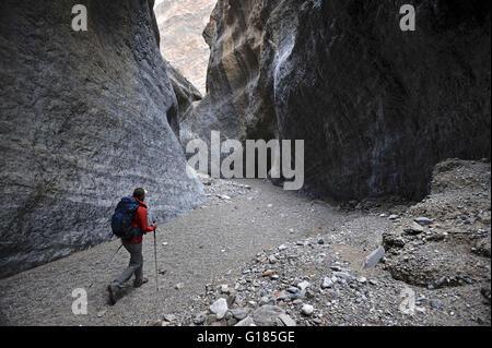 Caminante explorar formaciones rocosas, Marble Canyon, el Parque Nacional Valle de la Muerte, California Imagen De Stock