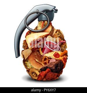 Dieta malsana el riesgo para la salud y la nutrición deficiente el peligro y la presión arterial alta debido al peligro comiendo comida basura con azúcar y sodio. Imagen De Stock