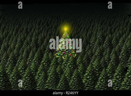 Concepto de árbol de Navidad como un pino decorado en un bosque verde en un fondo con área de texto 3D como una ilustración. Imagen De Stock