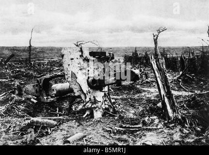 9 1916 9 15 A1 E Posición de artillería en Martinpuich 1916 1 Guerra Mundial 1914 Westfront 1918 batalla Imagen De Stock