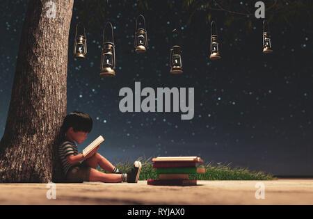 El chico leyendo un libro en el cielo estrellado de la noche, con la luz de fondo conceptual linterna vintage,3D rendering Imagen De Stock