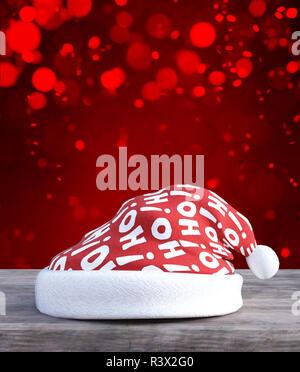 Sombrero de navidad decorado con piso de madera,3D rendering Imagen De Stock