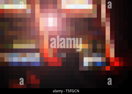 Una abstracta y patrón en forma de píxeles de coloridas plazas. Imagen De Stock