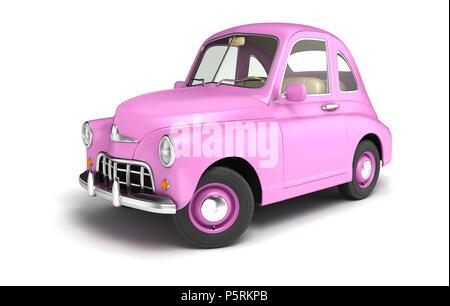 Pink cartoon coche aislado en blanco. Ilustración 3D Imagen De Stock