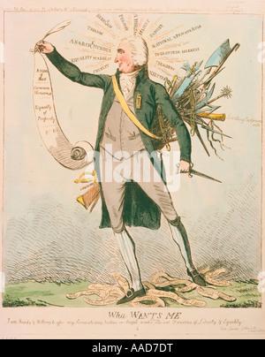 Thomas Paine Brit American publisher 1737 1809 Wha me quiere caricatura de Paine su scroll Derechos del Hombre de Imagen De Stock