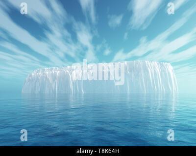 3D Render de un iceberg en el mar azul Imagen De Stock
