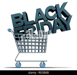 Viernes Negro compras y una vacaciones en noviembre la venta como promoción de temporada como una ilustración 3D. Imagen De Stock