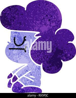 Dibujado a mano alzada retro cartoon de kawaii chica extranjera Imagen De Stock