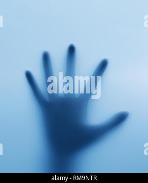 Imprisoner,mano de la persona detrás de las ventanas de vidrio,3D rendering Imagen De Stock