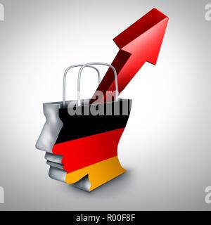 Alemania la inflación aumentan en una floreciente economía alemana del mercado financiero y de bienes y servicios o Unión oscilaciones de los precios al consumidor y la económica. Imagen De Stock