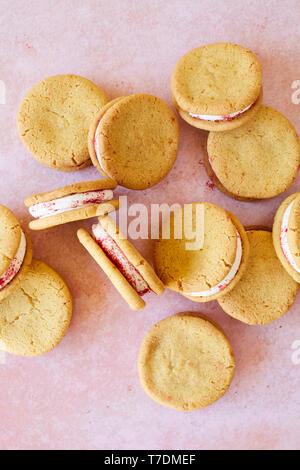 Frambuesa y naranja Shortbread galletas sandwich Imagen De Stock