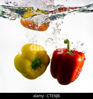 Dos pimientos, rojo y amarillo, cayó en el agua clara contra un fondo blanco. Imagen De Stock