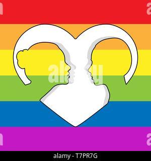 Dos mujeres cabeza siluetas mirarnos en el contorno del corazón. Antecedentes en colores de LGBT Imagen De Stock