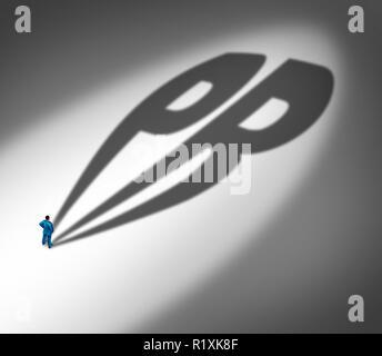 PR las relaciones públicas y la gestión de las noticias y la información como publicista de sombra con una abreviatura de texto en 3D de una ilustración de estilo. Imagen De Stock