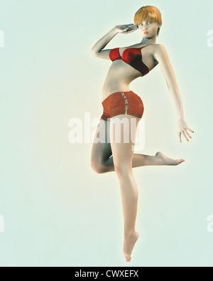 Ilustración de un estilo retro vintage o pin-up modelo de sexy chica en bikini rojo arriba y vintage shorts. Imagen De Stock
