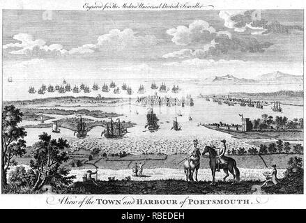 PORTSMOUTH, Inglaterra, en 1779, mirando al sur de grabado Imagen De Stock