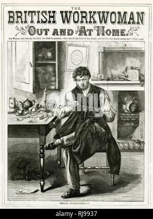 Un joven licenciado cosiendo su propia ropa en casa: única Bienaventuranza! Imagen De Stock