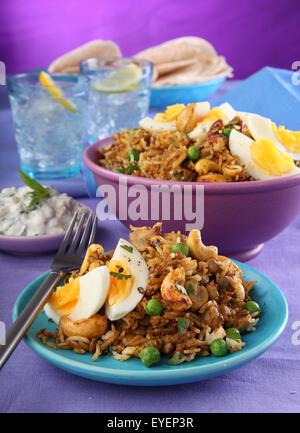 Comida vegetariana india de setas y castañas de cajú BIRYANI CURRY Imagen De Stock