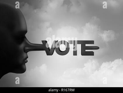 Voto el fraude electoral y fraude o delito electoral con papeletas ilegales desde un recuento de las elecciones y votaciones como símbolo de la corrupción en las urnas. Imagen De Stock
