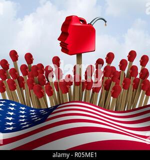 Gaslighting Latina y el Gaslight de la psicología en los Estados Unidos concepto como la manipulación psicológica mediante comunicación nacional como un 3D Render. Imagen De Stock