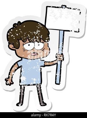 Pegatina angustiado de una historieta agotado muchacho con placard Imagen De Stock