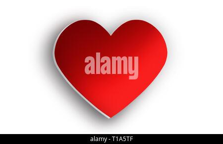 Corazón 3D de color escarlata brillante, con sombras volumétricas, aislado sobre fondo blanco. Elemento de diseño gráfico para la medicina, y vacaciones. Día de San Valentín Imagen De Stock