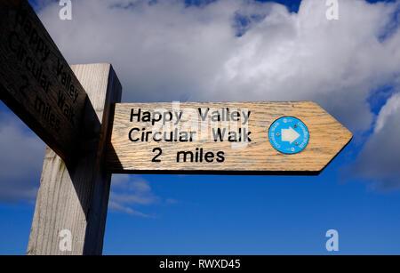 Happy Valley paseo circular signo, Cromer, North Norfolk, Inglaterra Imagen De Stock