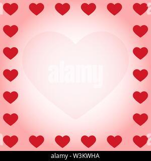 Corazón rojo en los bordes de un fondo degradado rosa con una silueta cardiaca en el oriente. Solución ideal para el diseño y la decoración de saludos. Imagen De Stock