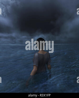 Mujer avistamiento de un agujero en el cielo sobre el mar,3d ilustración Imagen De Stock