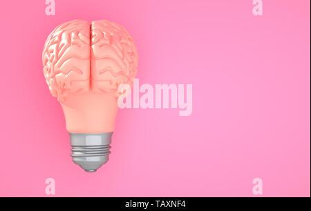 Bombilla de luz del cerebro rosa sobre el color de fondo. Ilustración 3D Imagen De Stock