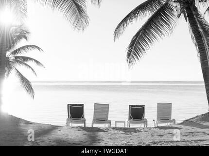 Vacaciones en la playa tumbonas en la arena con vistas al océano en impresionante blanco y negro Imagen De Stock