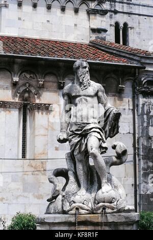 Toscana carrara estatua con Andrea Doria semblanza de neptuno Imagen De Stock
