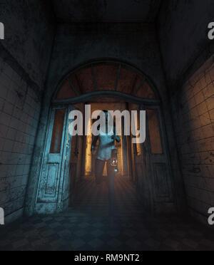 Chica que se perdió en la casa embrujada,3d ilustración Imagen De Stock