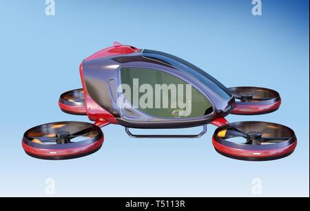 Pasajero eléctrico teledirigido volando en el cielo. Este es un modelo 3D y no existe en la vida real. Ilustración 3D Imagen De Stock