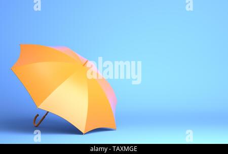 Paraguas amarillo sobre fondo azul. Ilustración 3D Imagen De Stock