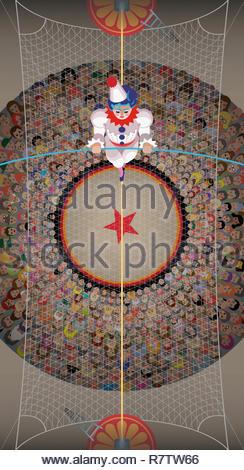 Vista aérea del payaso caminando por el alambre alto por encima de la multitud de circo Imagen De Stock