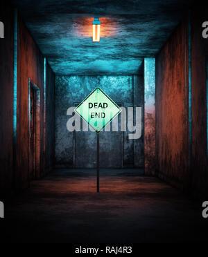 Dead End,señales de carretera en casa abandonada,3D rendering Imagen De Stock