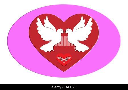 Palomas Blancas con la rama de olivo en el fondo del corazón, diseño plano Imagen De Stock