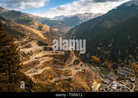 Vista aérea de Canillo en Andorra Imagen De Stock