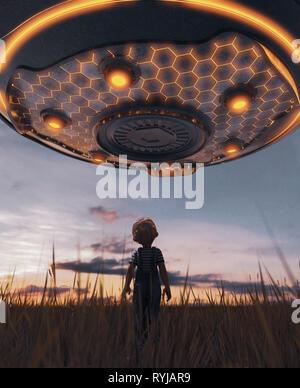Chico mirando un OVNI platillo,3D rendering Imagen De Stock