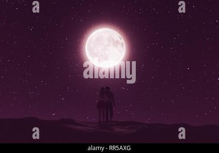 Las parejas de amor bajo la luna,3D rendering Imagen De Stock