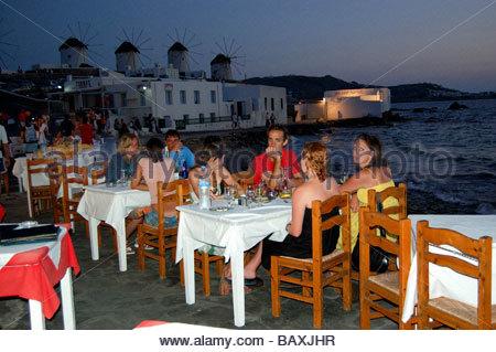 Un restaurante en Mykonos, Grecia Imagen De Stock