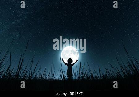Chica sujetando la luna en la noche estrellada,3D rendering Imagen De Stock