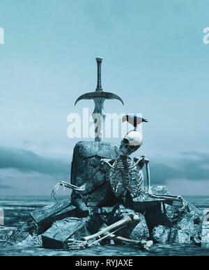 Espada en bloque de escombros,3D rendering bagaje conceptual Imagen De Stock