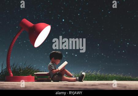 El chico leyendo un libro en la noche estrellada bagaje conceptual,3D rendering Imagen De Stock