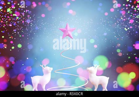 Símbolo de árbol de navidad con luces borrosa colorido abstracto para navidad diseño antecedentes,3d ilustración Imagen De Stock