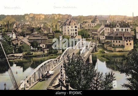 Große Brücke (Weißenfels Weißenfels), vistas de 1912, en el Estado federado de Sajonia-Anhalt, Weißenfels, Große Brücke ohne Schloß, Alemania Imagen De Stock