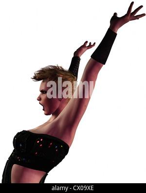 Ilustración foto-realista de un tipo de punk rock moderno modelo de moda con las manos en el aire. Imagen De Stock