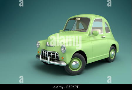 Luz verde coche de dibujos animados. Ilustración 3D Imagen De Stock