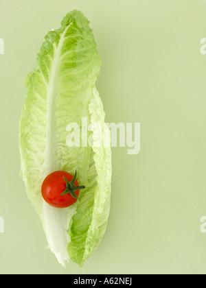 Lechuga y tomate cherry rodada con una cámara de medio formato digital profesional Imagen De Stock